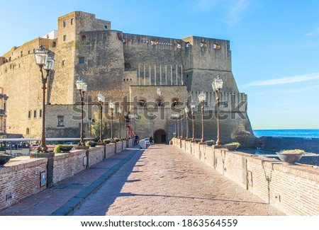 Naples, Italy - built during the 15th century, and a main landmark in Naples, Castel dell'Ovo (Egg Castle) is a seaside castle located in the Gulf of Naples Stock fotó ©