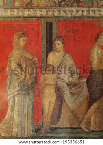 NAPLES ITALY �� MAY 14 2014 Frescoes in the Ruins of the old city of Pompeii near Naples Italy May 14 2014 in Naples Italy