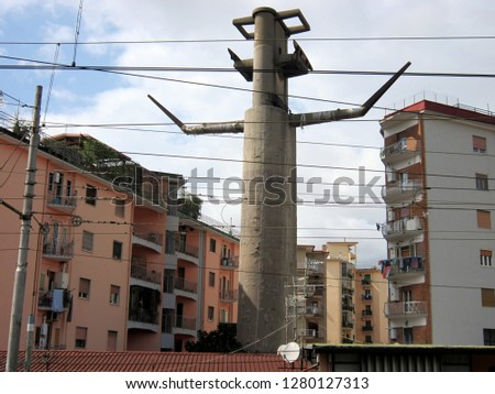 Naples. Italy. View of the houses and the support of the old inactive cableway in the western part of the city.