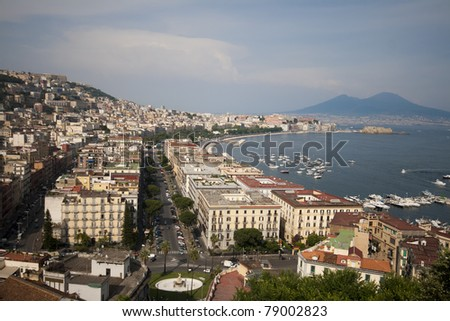 Naples, panoramic view of the city, italy