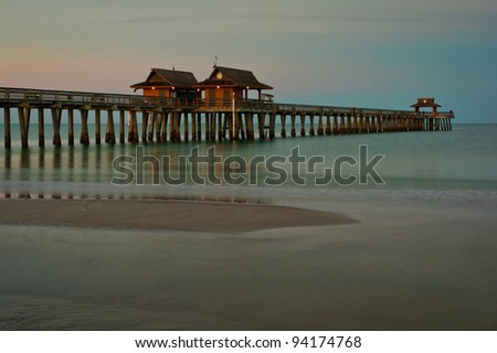 Naples Pier in Naples, Florida at dawn