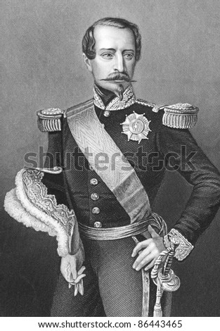 Napoleon III aka Louis Napoleon Bonaparte (1808-1873). Engraved by D.J.Pound and published in History of the War with Russia, United Kigndom, 1858.