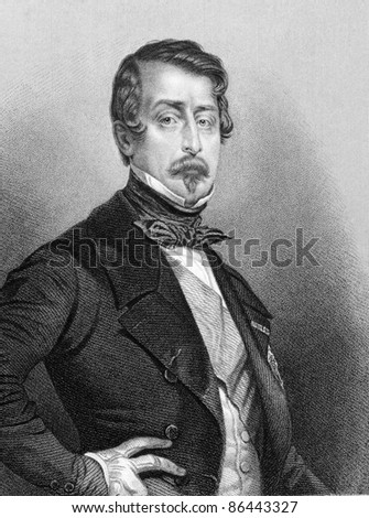 Napoleon III aka Louis Napoleon Bonaparte (1808-1873). Engraved by Jekins and published in Fisher's Drawing Room Scrap Book, United Kingdom, 1850. - stock photo