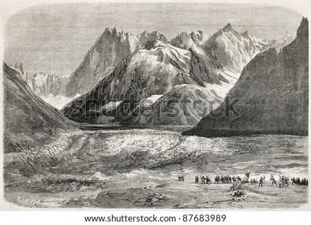 Napoleon III and Empress Eugenie excursion on the Mer de Glace (sea of ice), alpine glacier. Created by Marc, published on L'Illustration, Journal Universel, Paris, 1860
