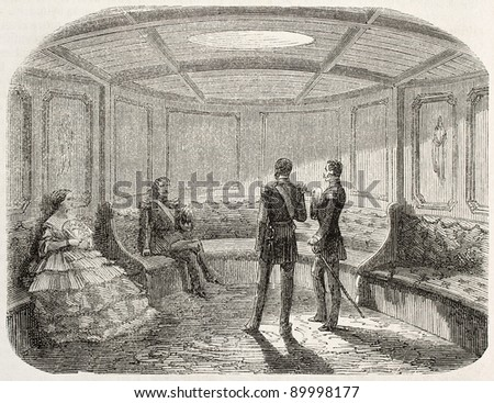 Napoleon III imperial yacht old illustration: family lounge. Created by Goddur after Yriarte, published on L'Illustration, Journal Universel, Paris, 1858