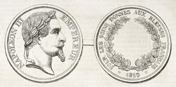 Napoleon III medal coined for care to wounded soldiers of Italian expedition. Created by Darre, published on L'Illustration, Journal Universel, Paris, 1860