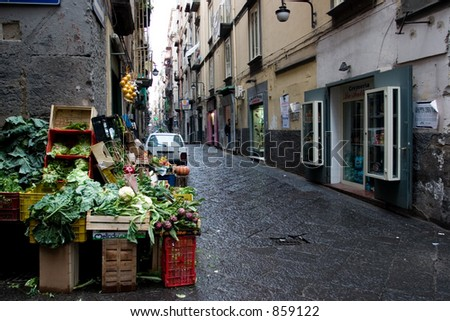 Napoli is an historic town with many small streets and a lot of little shops an market-stands