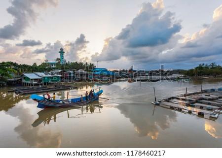 NARATHIWAT, THAILAND - September 13, 2018; The Fisherman on Fishing boat #1178460217