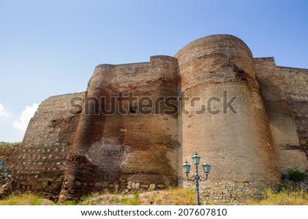 Narikala Fortress, an ancient fortress overlooking Tbilisi, the capital of Georgia, and the Kura River.