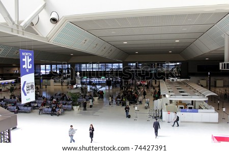 NARITA, JAPAN - APRIL 1: An unusual dark Narita Airport on April 1, 2011. Following the earthquake and nuclear disaster, the Japanese government decided to schedule power outages in the Kanto area.