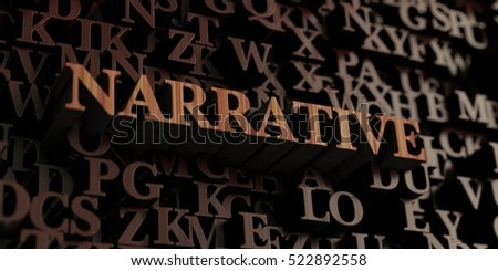 Narrative - Wooden 3D rendered letters/message.  Can be used for an online banner ad or a print postcard. Stockfoto ©