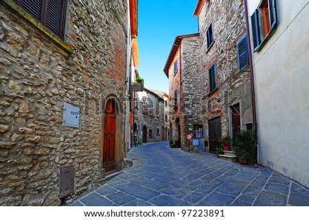 Narrow Alley With Old Buildings In The Chianti Region