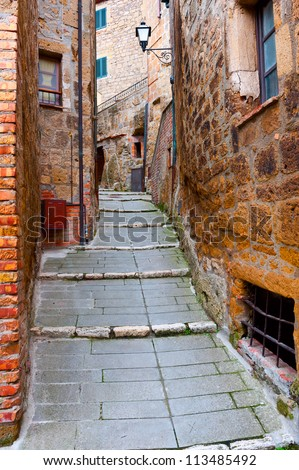 Narrow Alley with Old Buildings in the Italian City of Sorano
