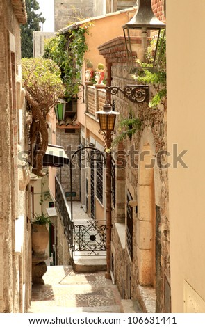 Narrow Alleyway in Greek City