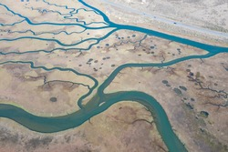 Narrow channels meander through a beautiful estuary in Central California. Estuaries form when freshwater runoff meets and mixes with saltwater from the ocean. Lots of wildlife rely on estuaries.