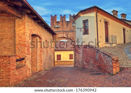 narrow cobbled street in old...