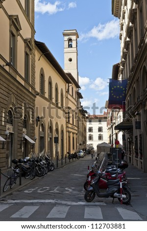Narrow cobbled street of Florence Italy
