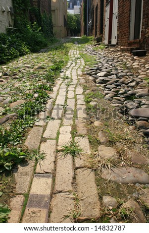 Narrow cobblestone road in old town, Alexandria, VA