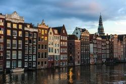 Narrow dutch houses in Amsterdam