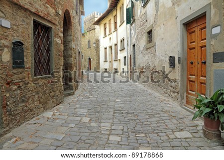 narrow italian street in tuscan borgo Montefioralle, sometimes claimed to be the birthplace of Amerigo Vespucci, Greve in Chianti, Italy, Europe