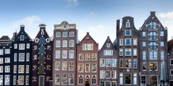 Narrow old housing buildings in Amsterdam, Netherlands.