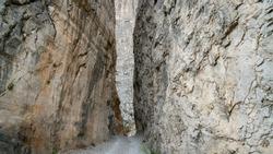 Narrow opening along the stone road in Kemaliye Egin town of Erzincan, Turkey