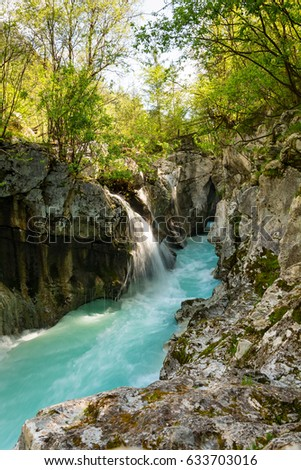 Narrow part od river Soca in Triglav national park after heavy rain as the water level is still high #633703016