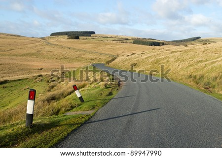 Narrow rural road B4519 on the Mynydd Epynt in mid Wales.
