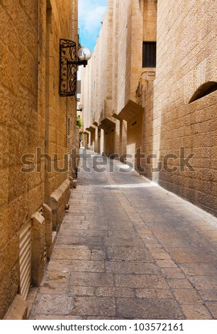 Narrow stone streets of ancient Jerusalem, Israel