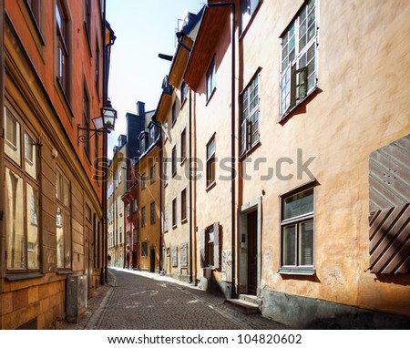 Narrow street in historic part of Oslo Norway.