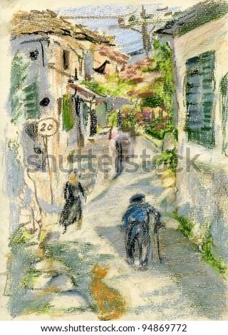 Narrow street in old Greek village on Zakynthos island