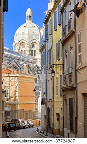 Narrow street in old town of Marseilles
