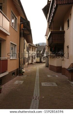 Narrow street in the center of Oppenau in the Black Forest
