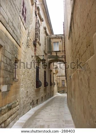 narrow street in the city of Mdina,Malta