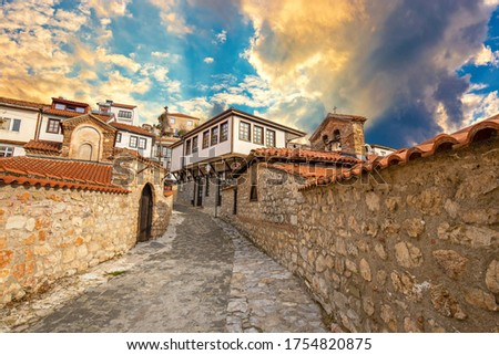 Narrow street in the old town of Ohrid on a beautiful sunset, North Macedonia Photo stock ©