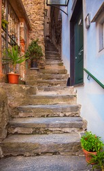 Narrow street in the old town of Vernazza, Italy