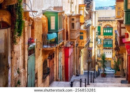 Narrow street in Valletta - the capital of Malta. Stock fotó ©