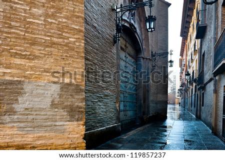 Narrow Street in Zaragoza, Rainy Day