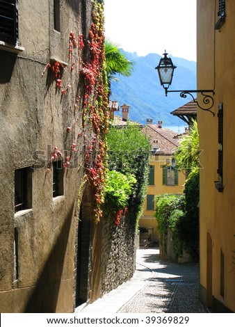 Narrow street of Menaggio, Italy