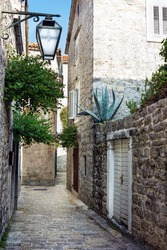 Narrow street of old town Budva, Montenegro