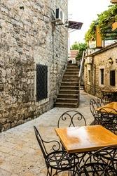 Narrow street of old town Budva , Montenegro