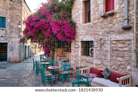 Narrow streets of Areopoli town on the Mani peninsula in Greece Photo stock ©