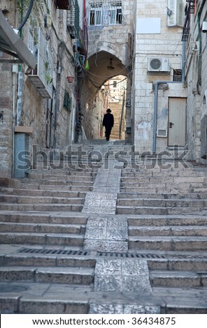 narrow streets of the Old City of Jerusalem.