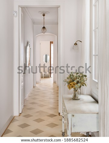 Narrow vintage style toilet with small sink and mirror. Photo stock ©