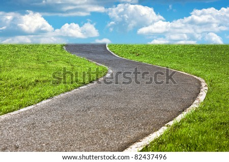 narrow winding pathway in a lush green grass - stock photo