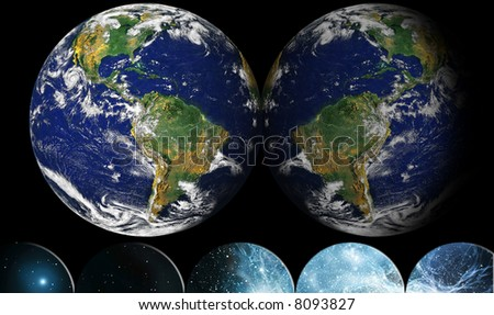 NASA public-use image Globe reflected into Space