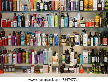Nashua. NH. USA Dec 29 2017 Hair care products on the shelf inside retail store #784747714