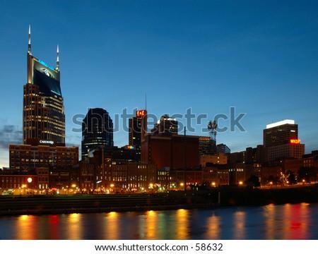 Nashville Skyline Night - stock photo
