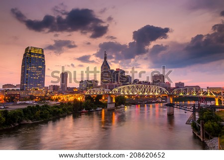 Nashville Tennessee downtown skyline at twilight USA