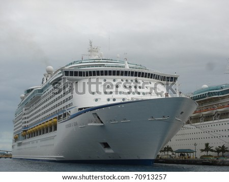 NASSAU, BAHAMAS  - DECEMBER 11: The Royal Caribbean, Voyager of the Seas Cruise Ship docked on December 11, 2005 in Nassau in the Bahamas.